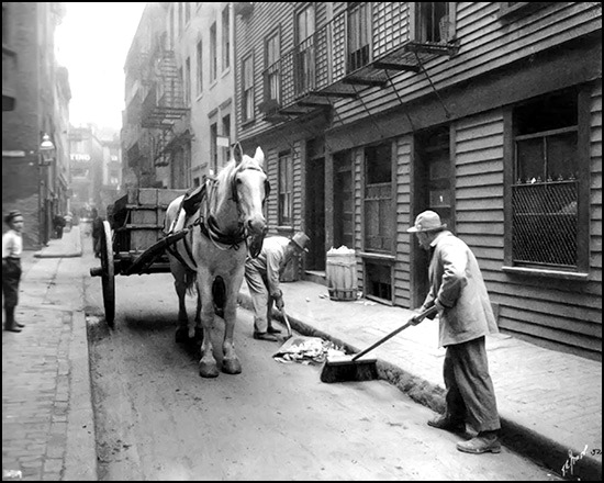 Italian workmen cleaning Boston streets